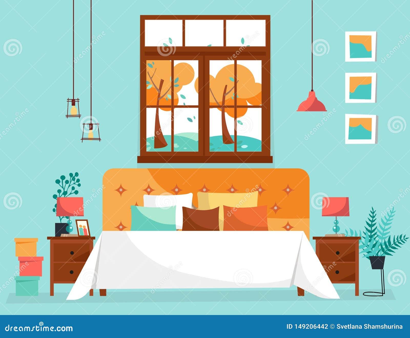 Dubbel groot bed met zachte achter en vele hoofdkussens onder groot venster met boomlandschap Slaapkamerbinnenland met bedlijsten