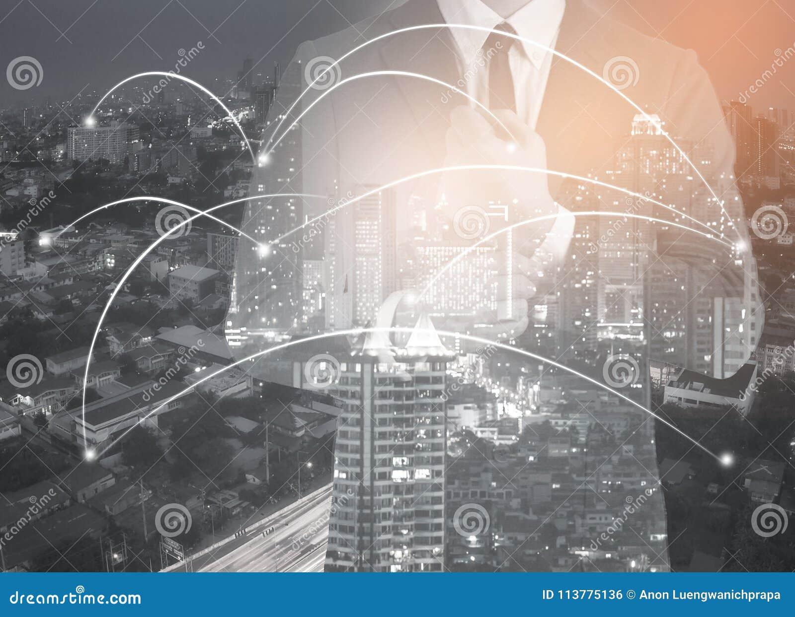 Dubbele blootstelling van netwerk en stad en netwerk conc verbinding