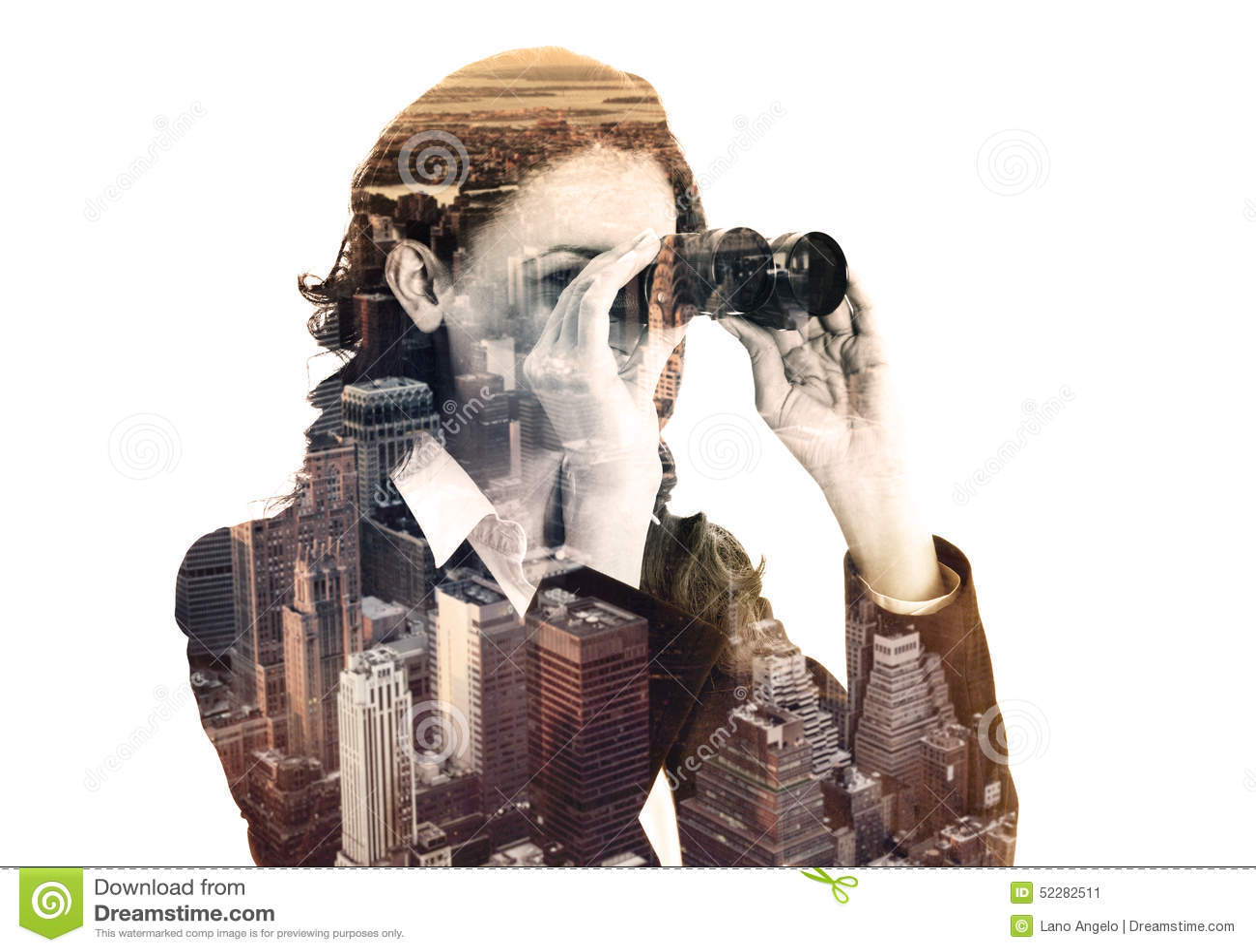Dubbele blootstelling van onderneemster met binoculair en megalopolis