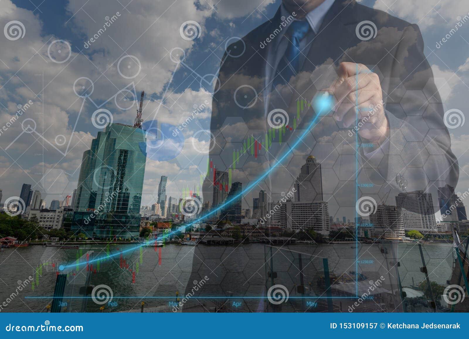 Dubbele blootstellingszakenlieden in het concept het succesvolle financiële beheer van de investeringsvoltooiing in professionele