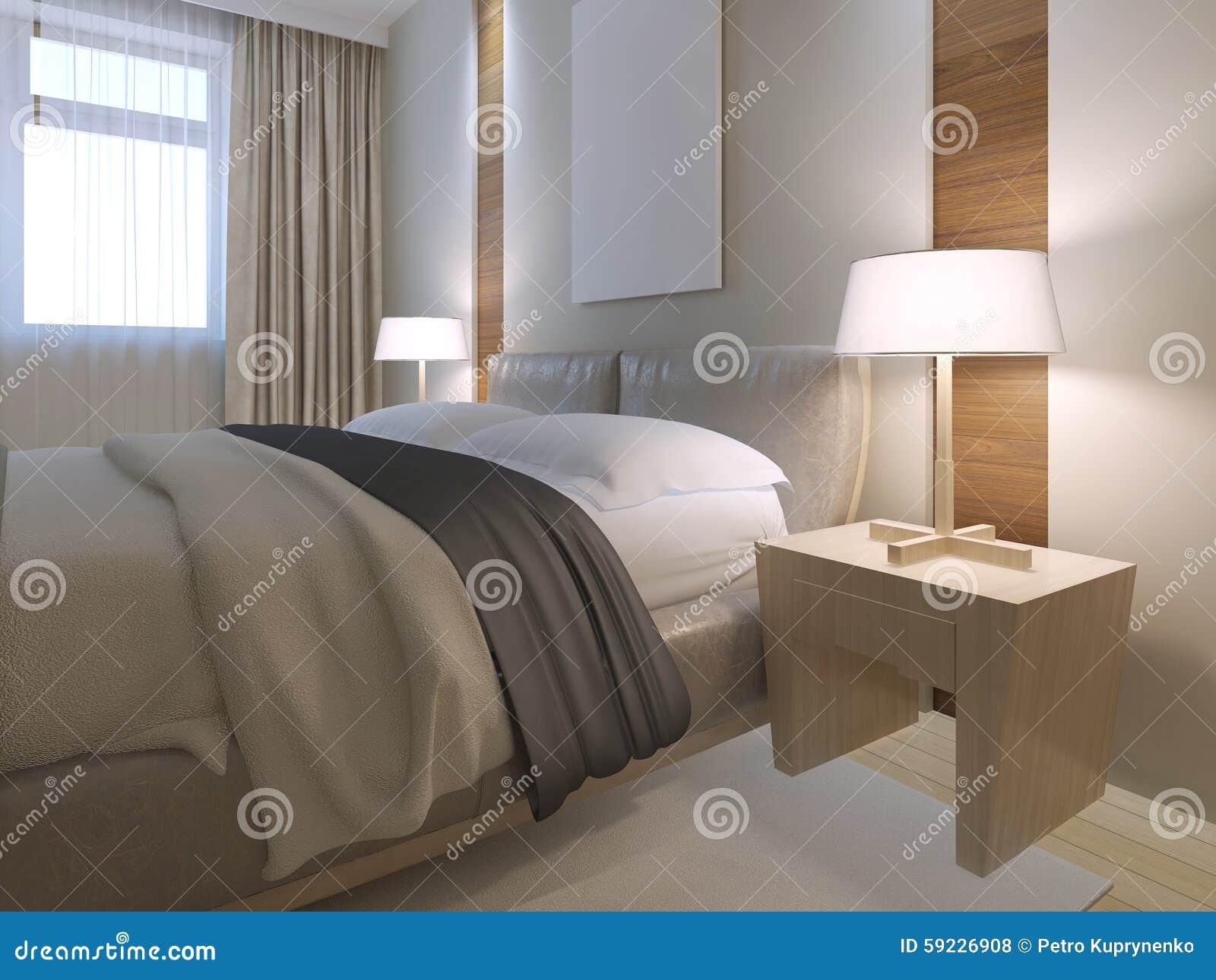 Dubbelsäng i minimalist sovrum stock illustrationer   bild: 59226908
