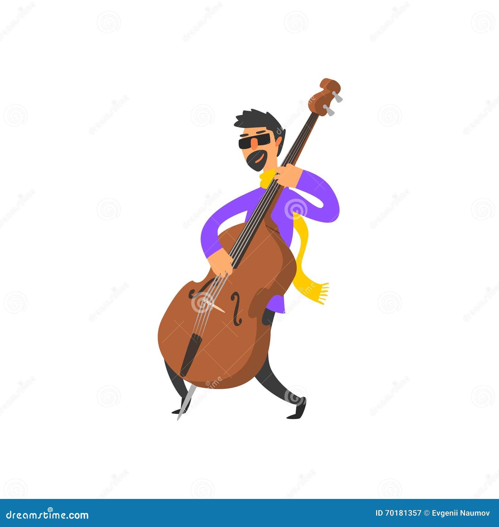 Dubbla Bass Player Vector Illustration