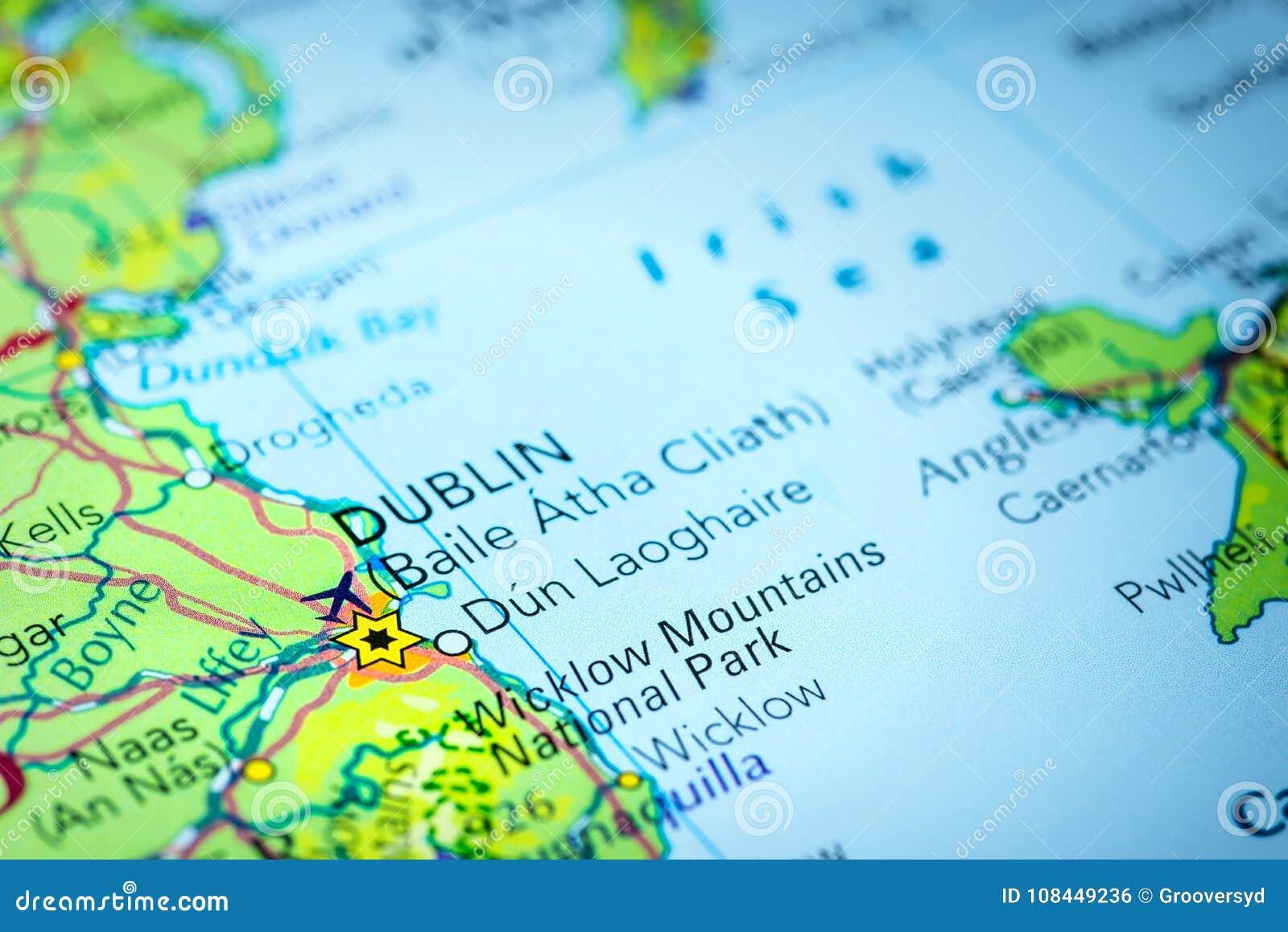 Dublín en Irlanda en un mapa