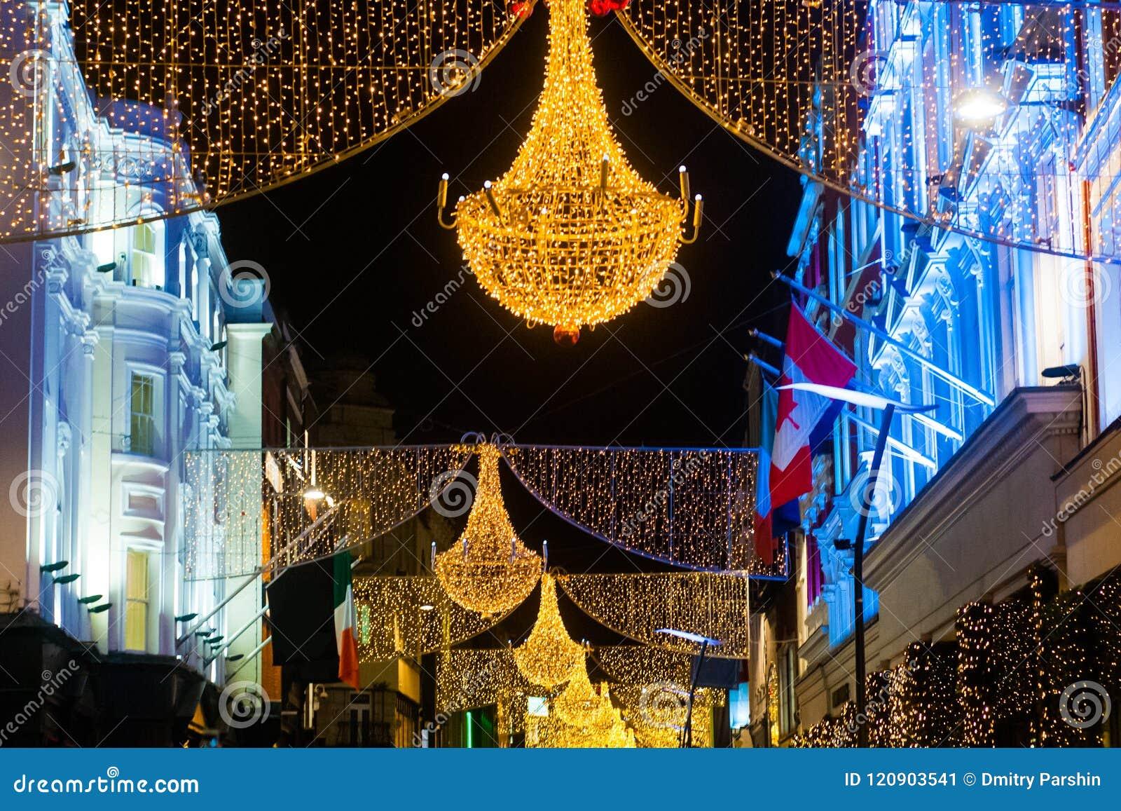 Christmas In Dublin Ireland.Grafton Street In Dublin Christmas Light The Inscription