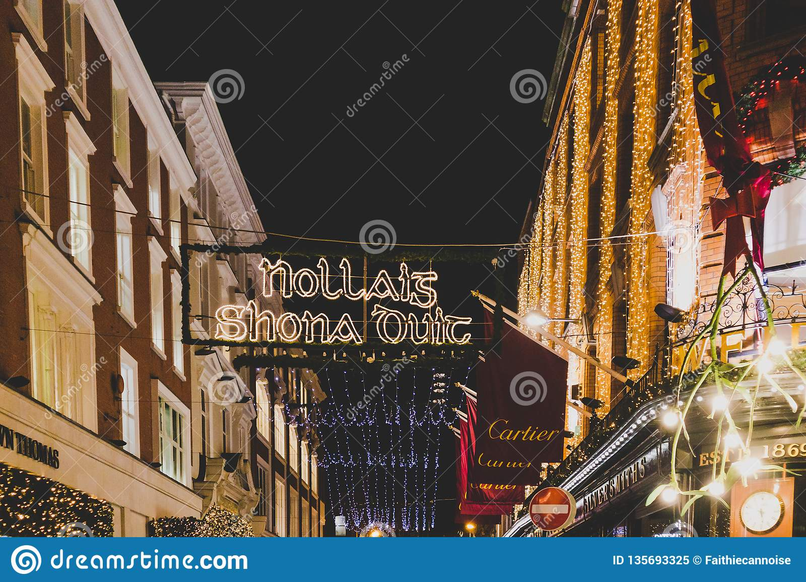 Christmas In Dublin Ireland.Christmas Decorations In Dublin City Centre In The Famous