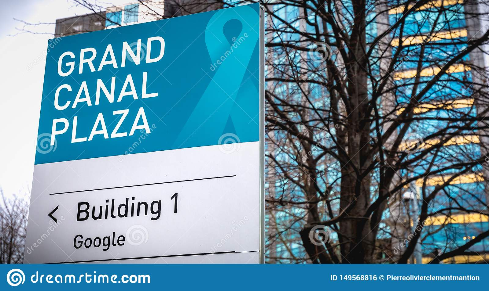 Grand Canal Plaza Building 1 Google sign in front of the Irish headquarters of international business google
