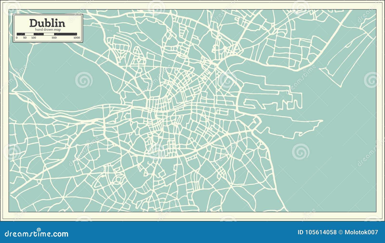 Street Map Of Ireland.Dublin Ireland Map In Retro Style Stock Vector Illustration Of