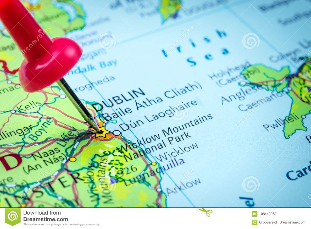 Ireland On Map Of Europe.Dublin In Ireland Pinned On A Map Stock Image Image Of Physical