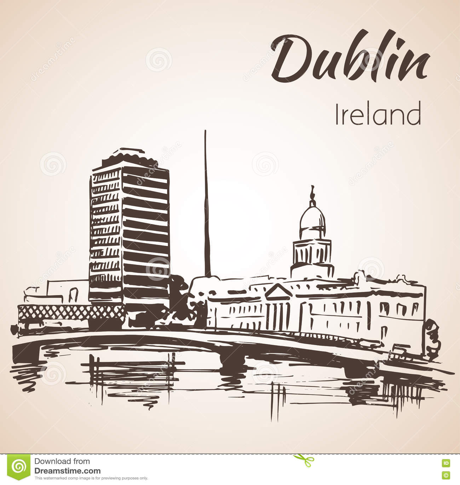 Dublin Liffey swoboda Hall i iglica Dublin Irlandia