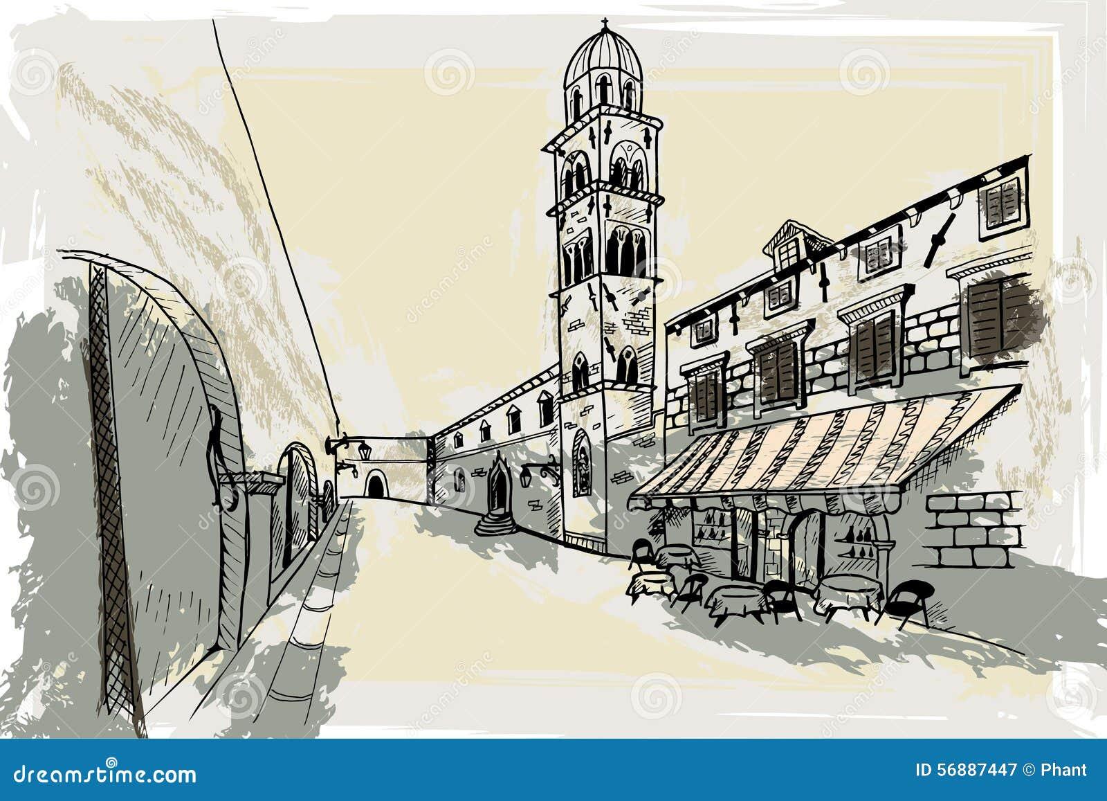 Dubrovnik La Croazia Schizzo di vettore