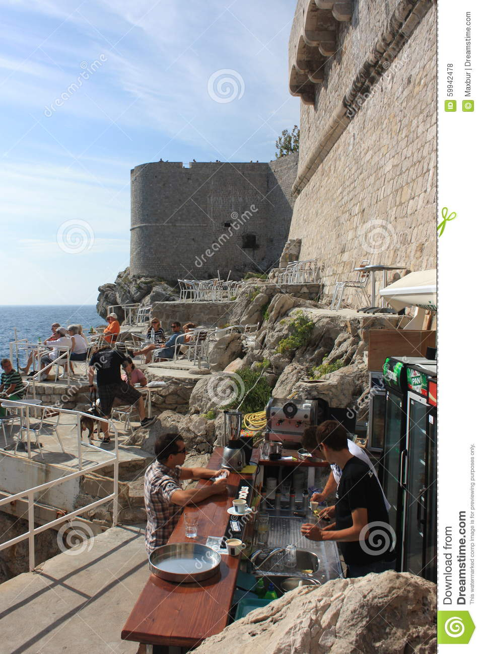 Dubrovnik S Oceanside Cafe And Bar Editorial Stock Photo Image