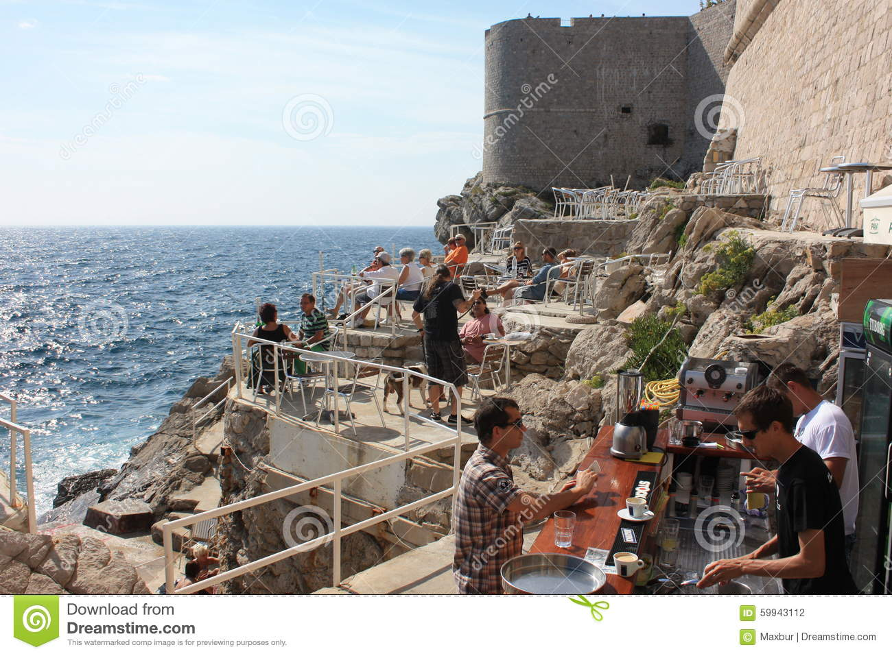 Dubrovnik S Oceanside View Cafe And Bar Editorial Photography