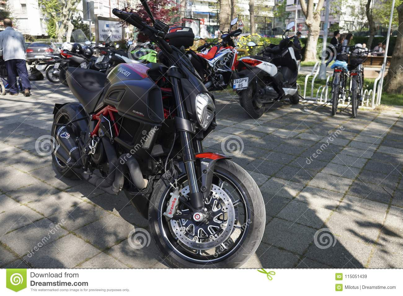 Ducati Diavel Carbon At Istanbul Kadikoy Editorial Stock Image