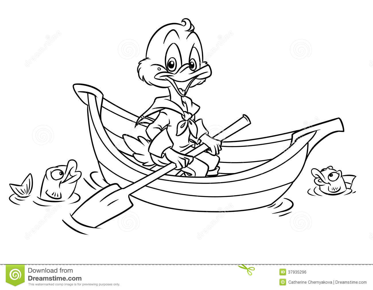 Duck In The Boat Coloring Pages Stock Illustration ...