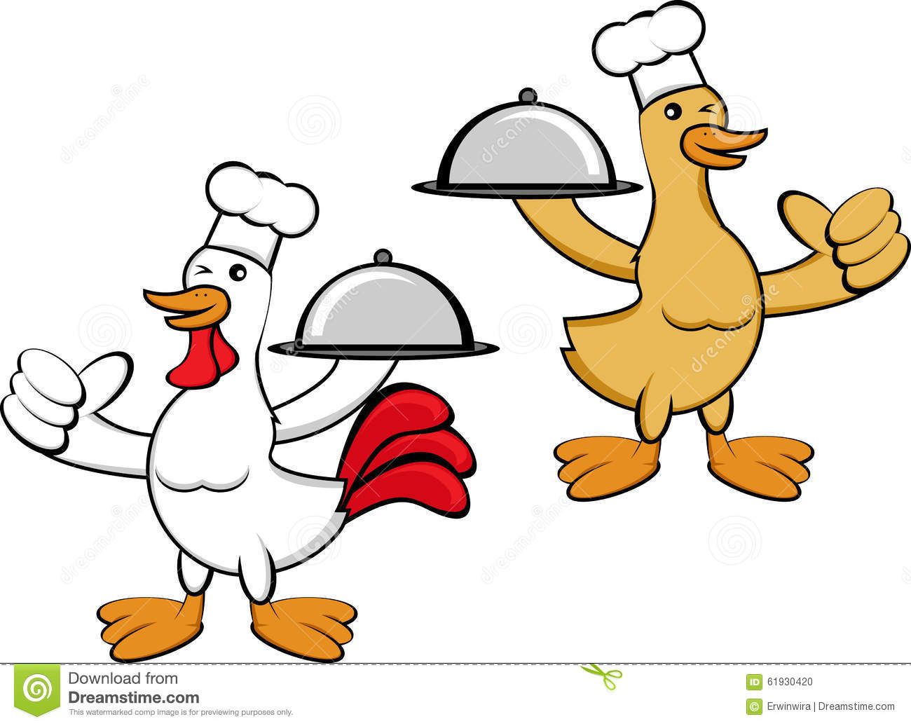 Character Design Using Illustrator : Duck and chicken chef stock illustration image