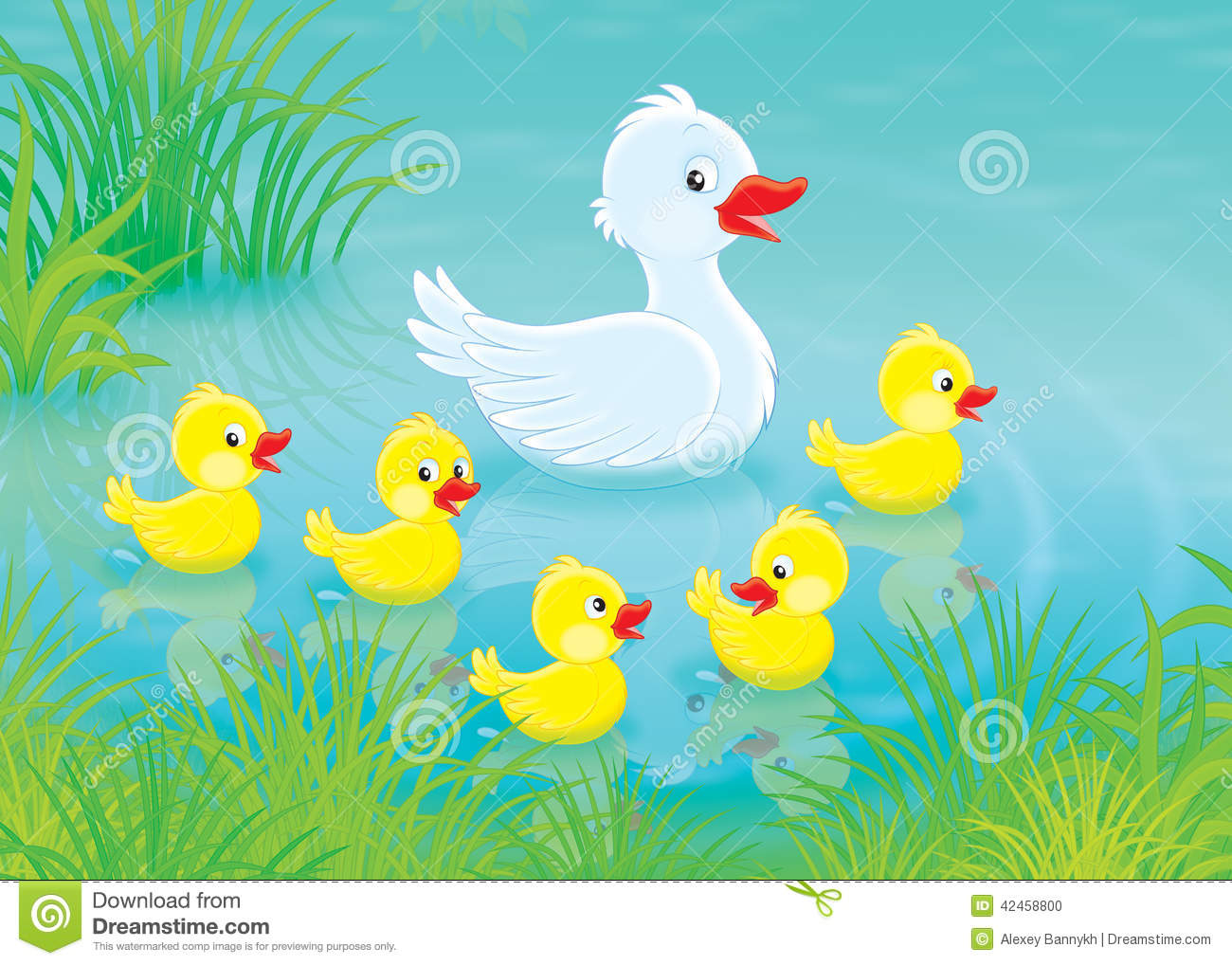 duck and ducklings stock illustration image 42458800