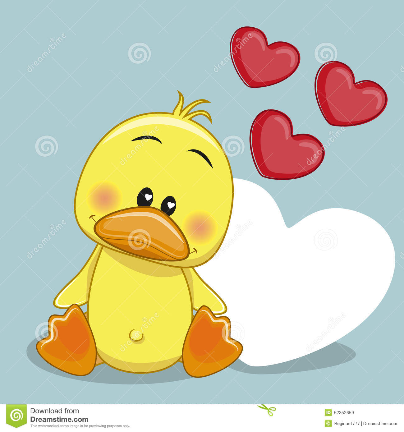 Duck With Hearts Stock Vector Image Of Image Girl