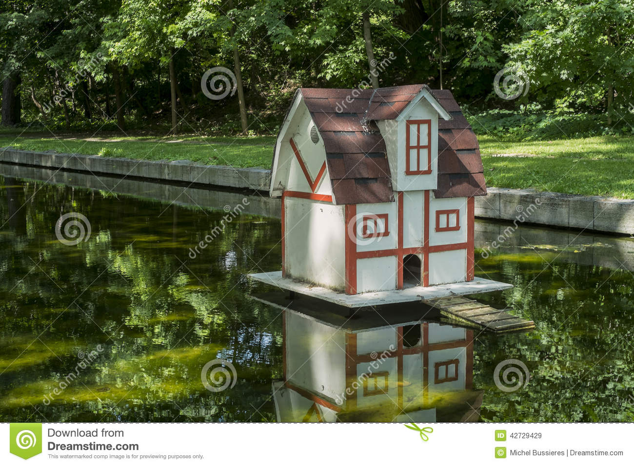 Duck house on a pond stock image image of floating green for House duck