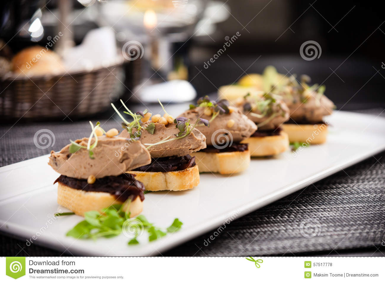 Duck liver patee stock photo image of creamy cuisine for Foie gras canape