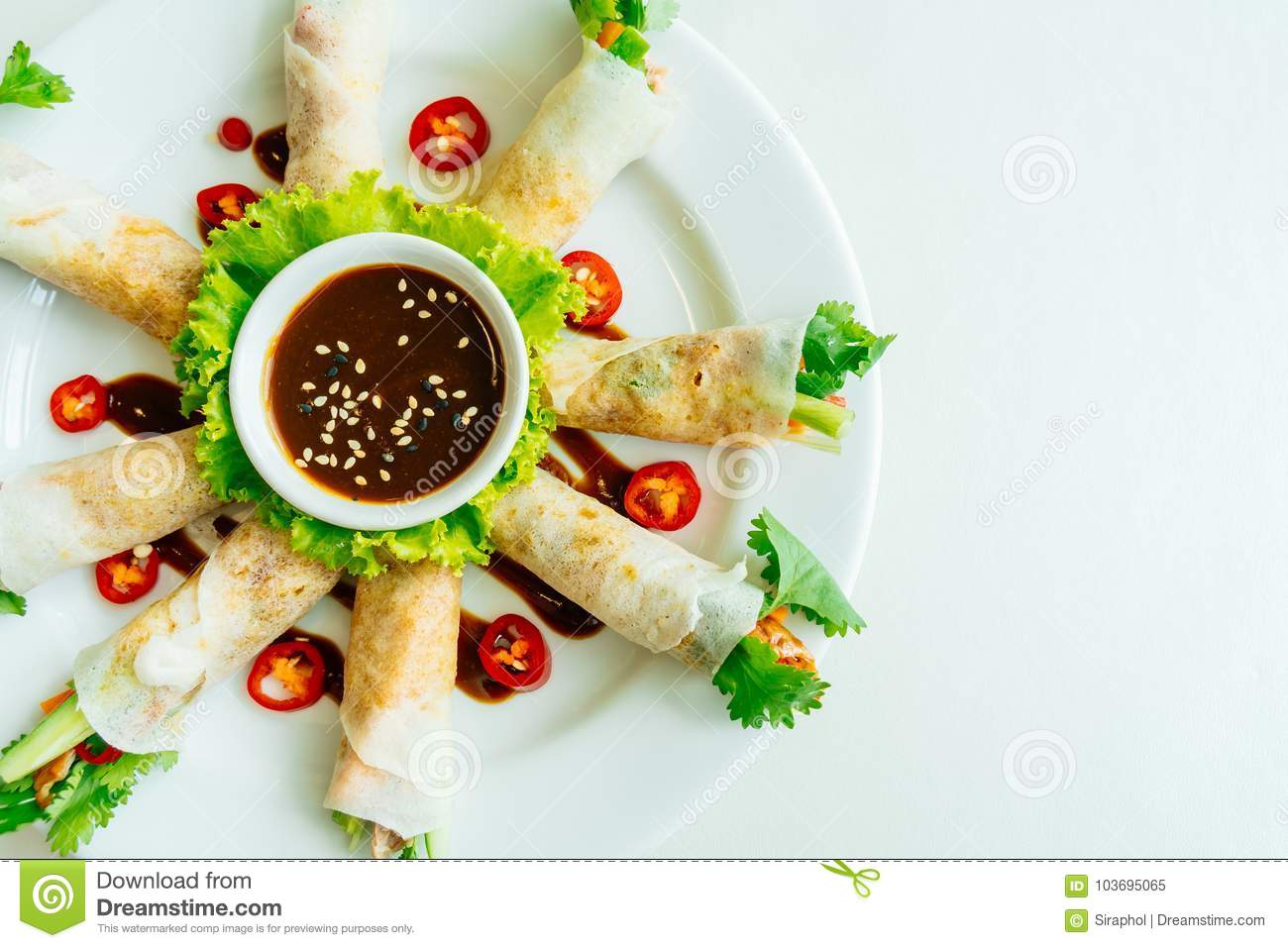 Duck Meat Inside Spring Roll Stock Image Image Of Cuisine Snack
