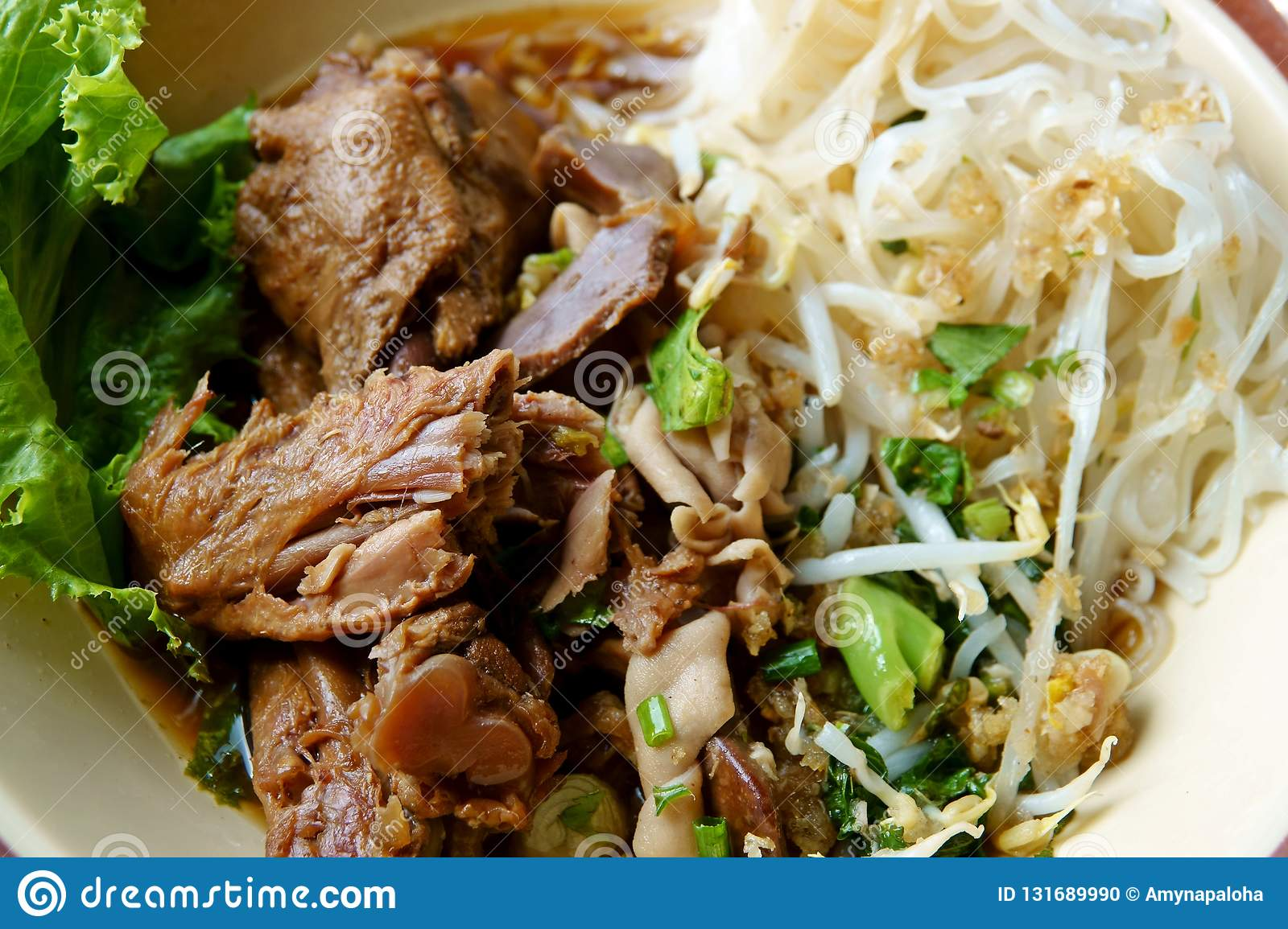 Duck noodle in bowl chinese