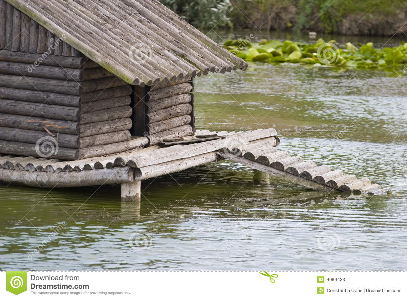 Duck shelter on lake stock photos image 4064433 for Building a duck house shelter