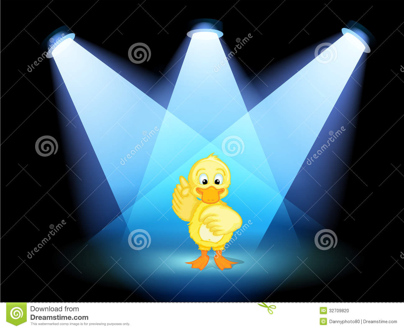 A duck with spotlights