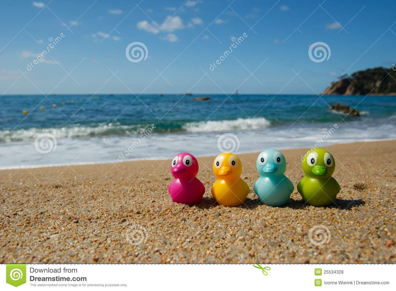 Pencil Paper Icon Duck Toys At The Beach...