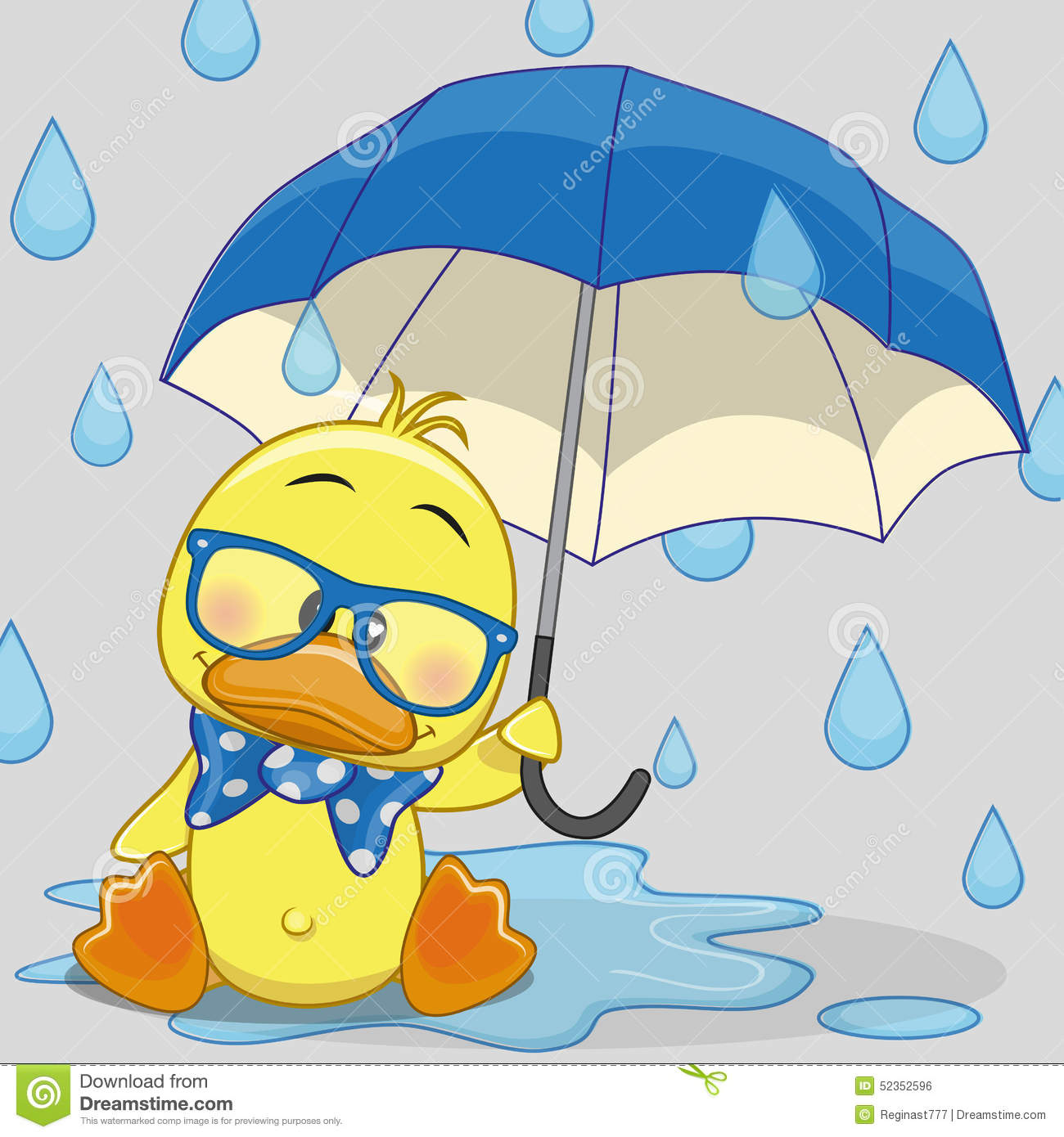 Duck With Umbrella Stock Vector Image 52352596