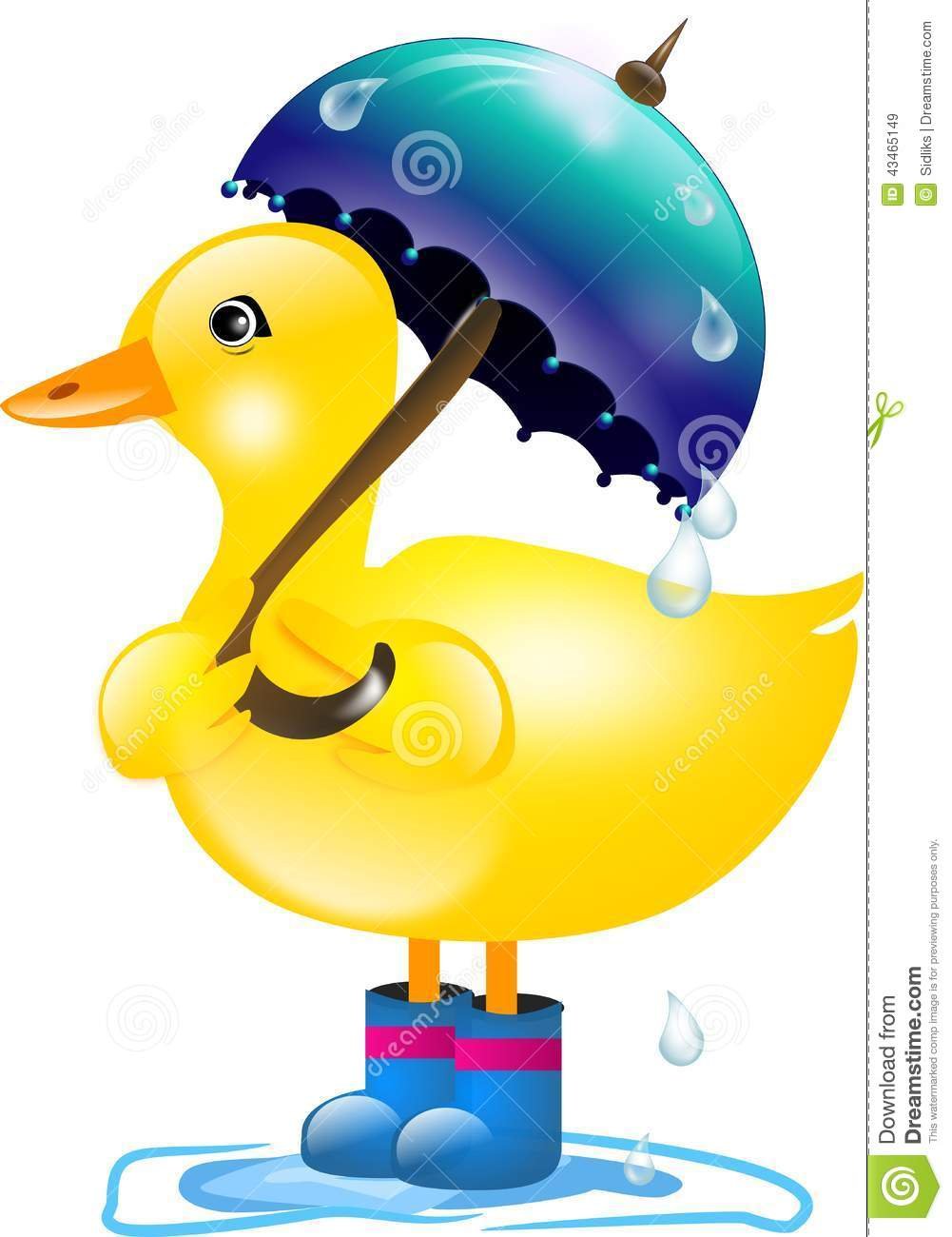 Yellow Duckling With Blue Umbrella In Rain
