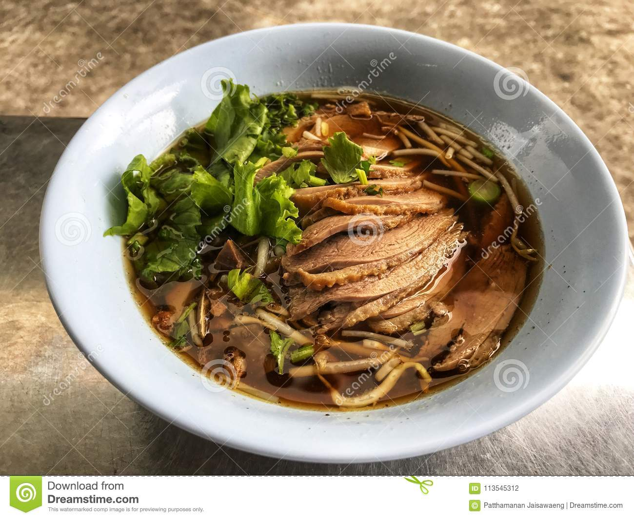Duck and vegetable soup in white bowl ,Thai Traditional And Popular Food