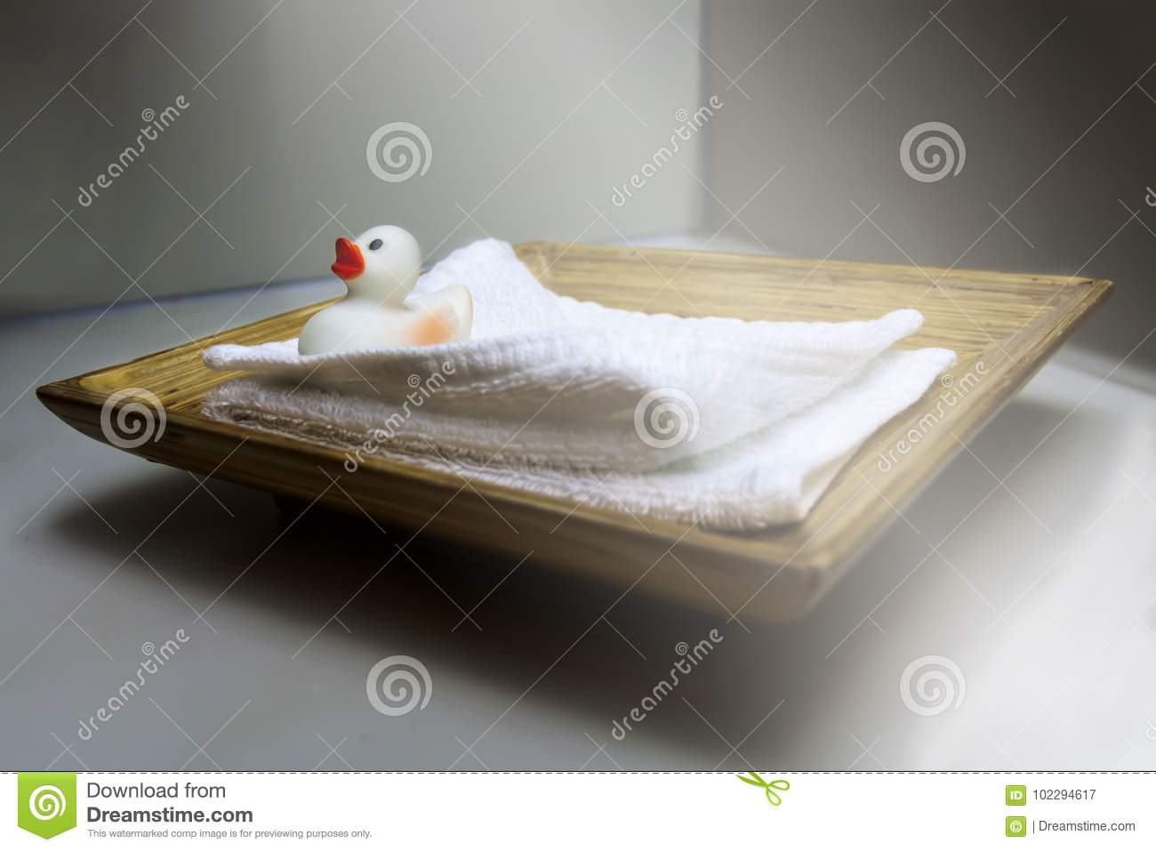 Duckling on a towel in a hotel
