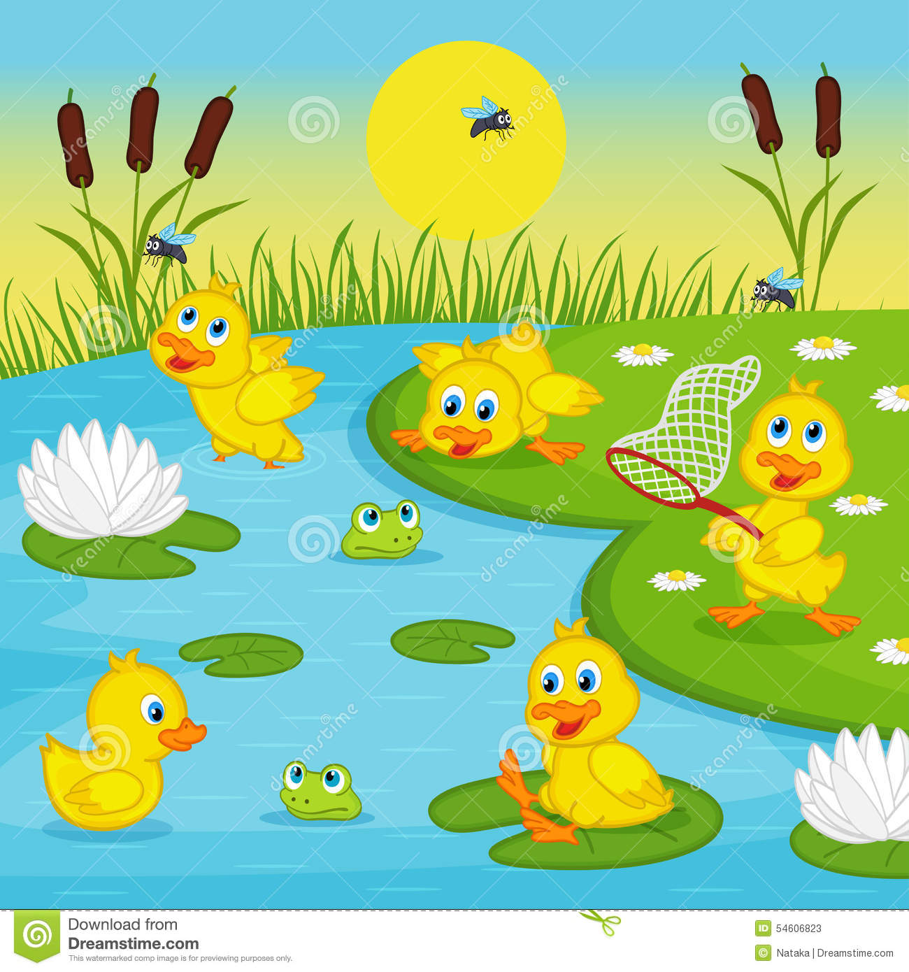 Ducklings Playing In Lake Stock Vector. Illustration Of