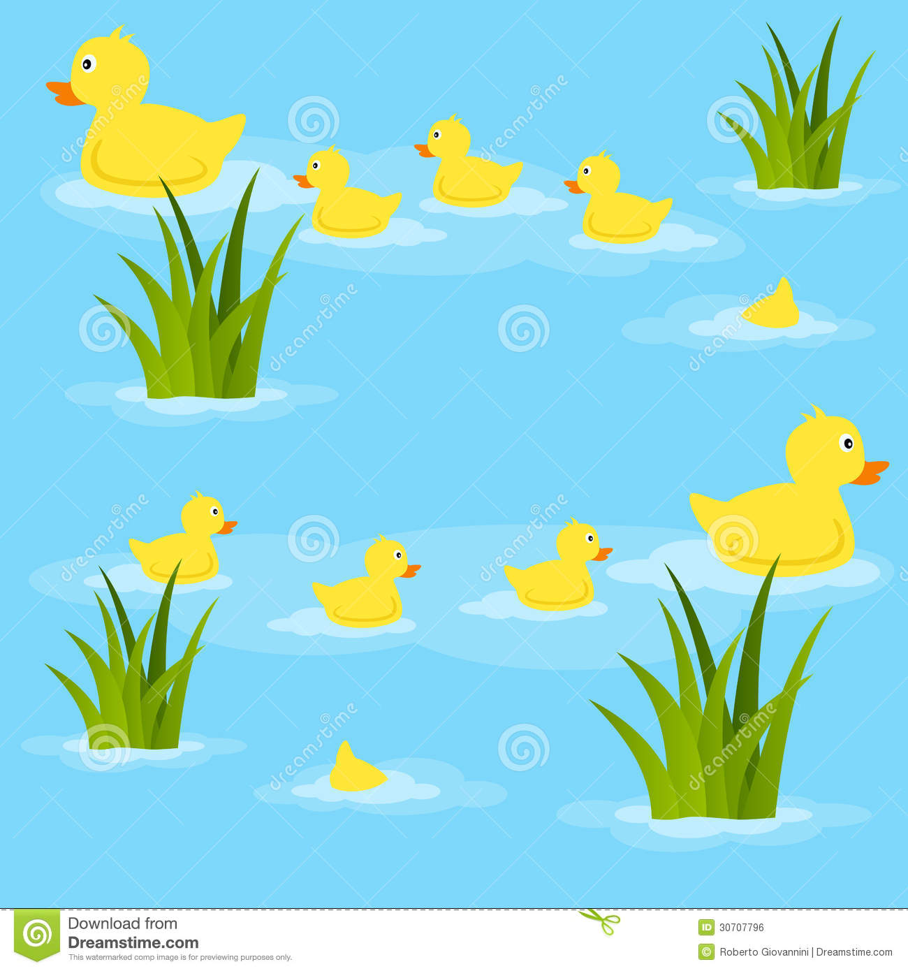 Ducks In Pond Seamless Pattern Stock Vector
