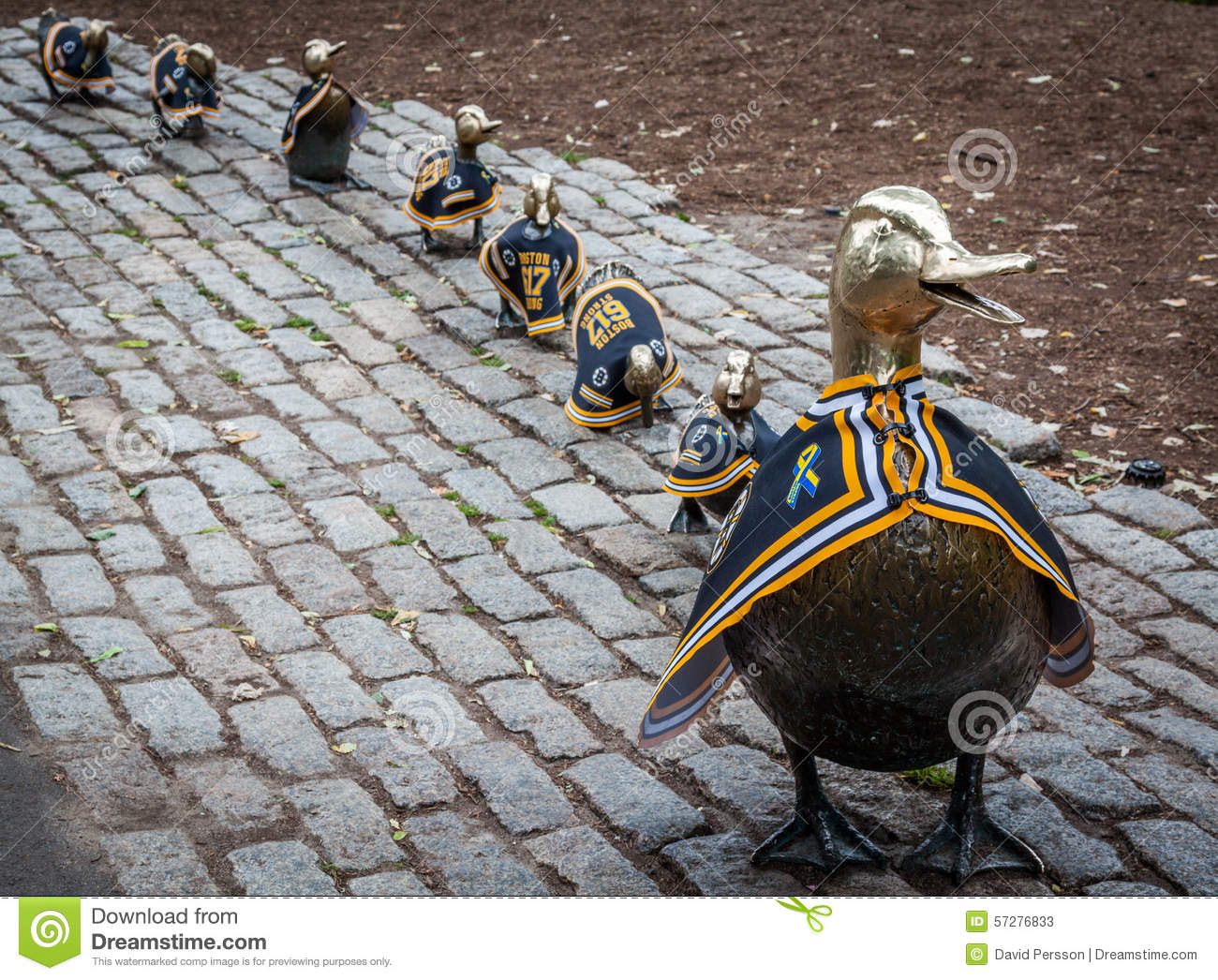 Ducks In A Row Statue In Boston Public Garden During The