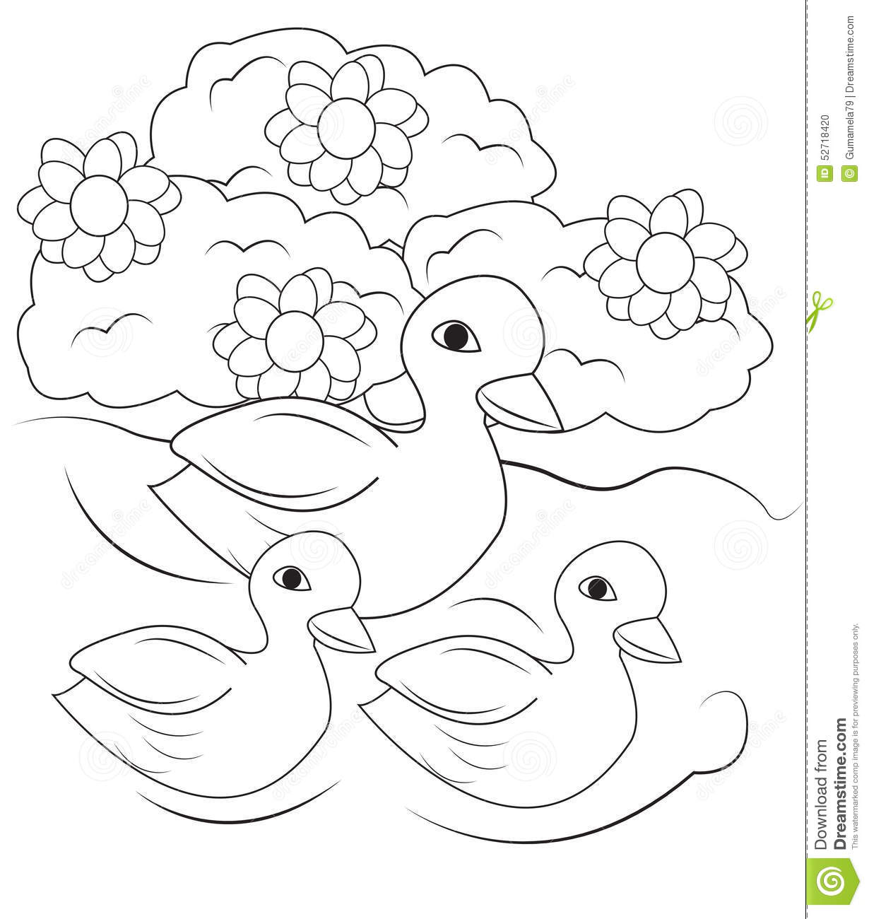 coloring pages swimming in a lake | Ducks Swimming In The Pond Coloring Page Stock ...