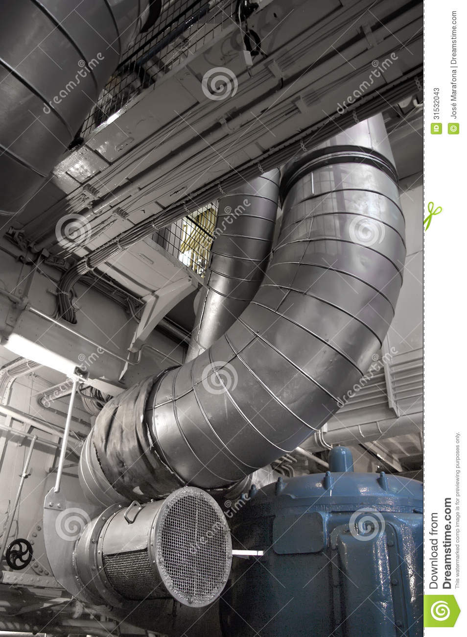 Spaceship Engine Room: Ducts Stock Photos