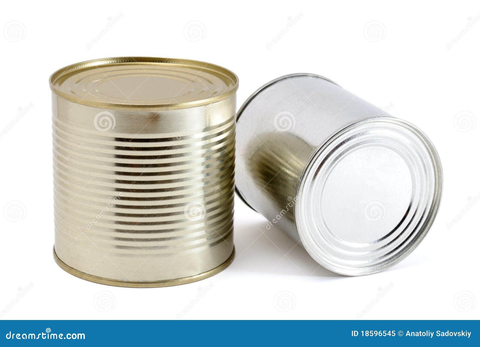spesso Due barattoli di latta immagine stock. Immagine di metallico  WB59