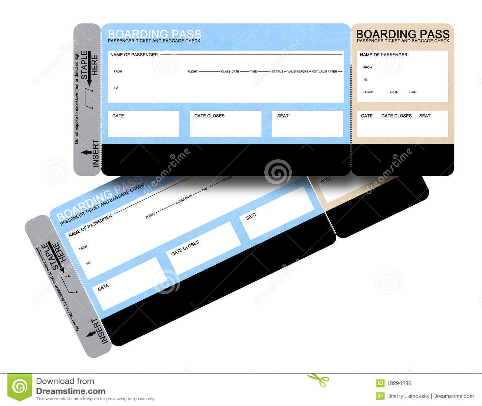 Due biglietti in bianco del passaggio di imbarco di linea aerea