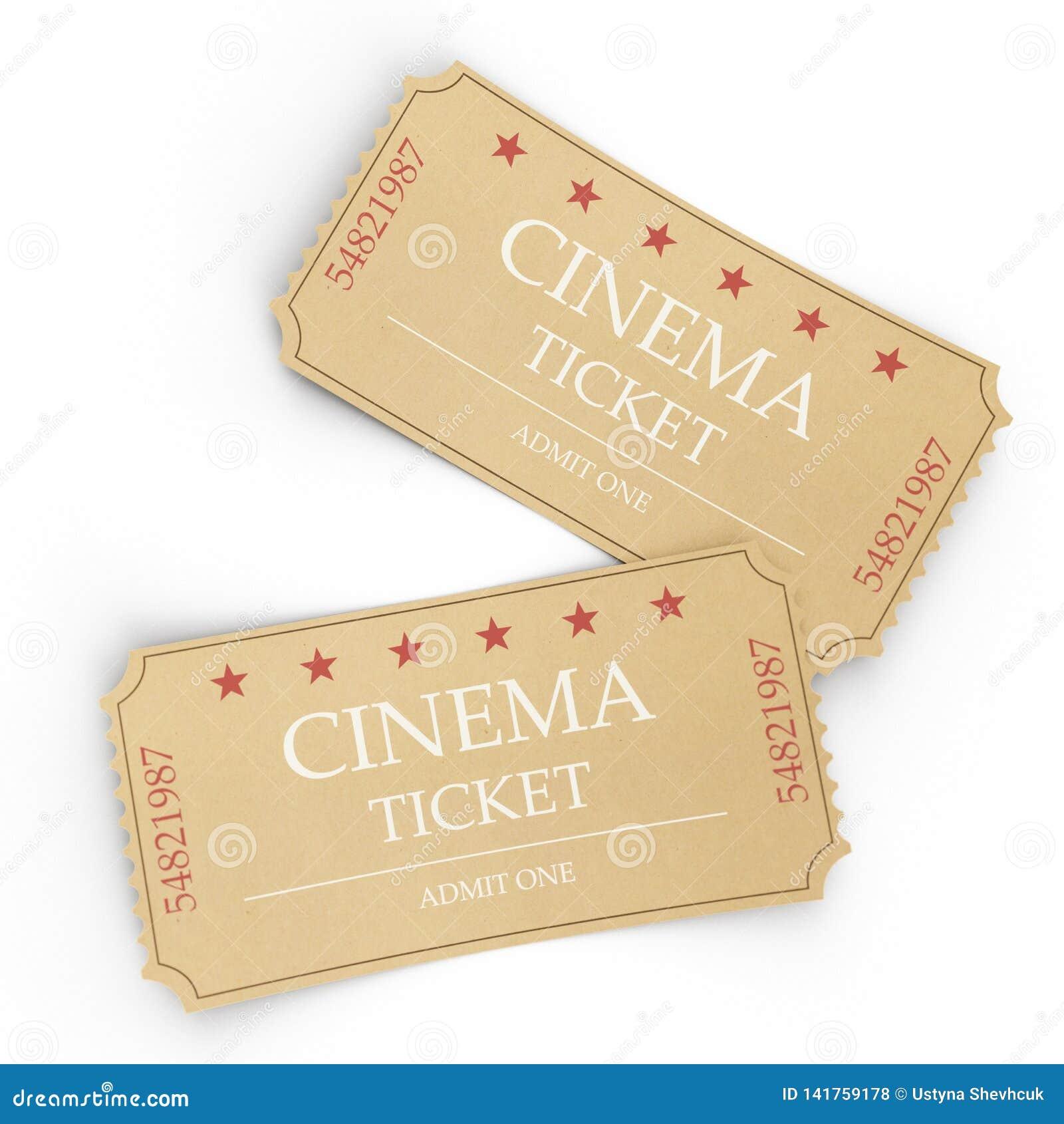 Due biglietti del cinema isolati su fondo bianco, vista superiore, primo piano illustrazione 3D