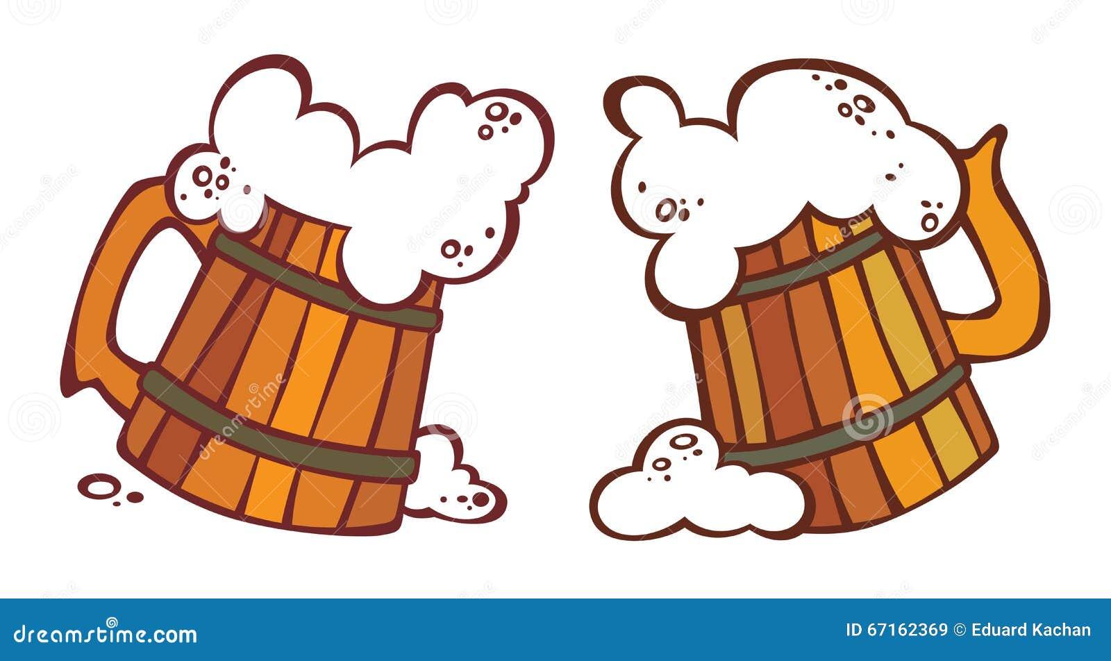 Estremamente Due Boccali Con Coperchio Con Una Birra Illustrazione Vettoriale  PH16