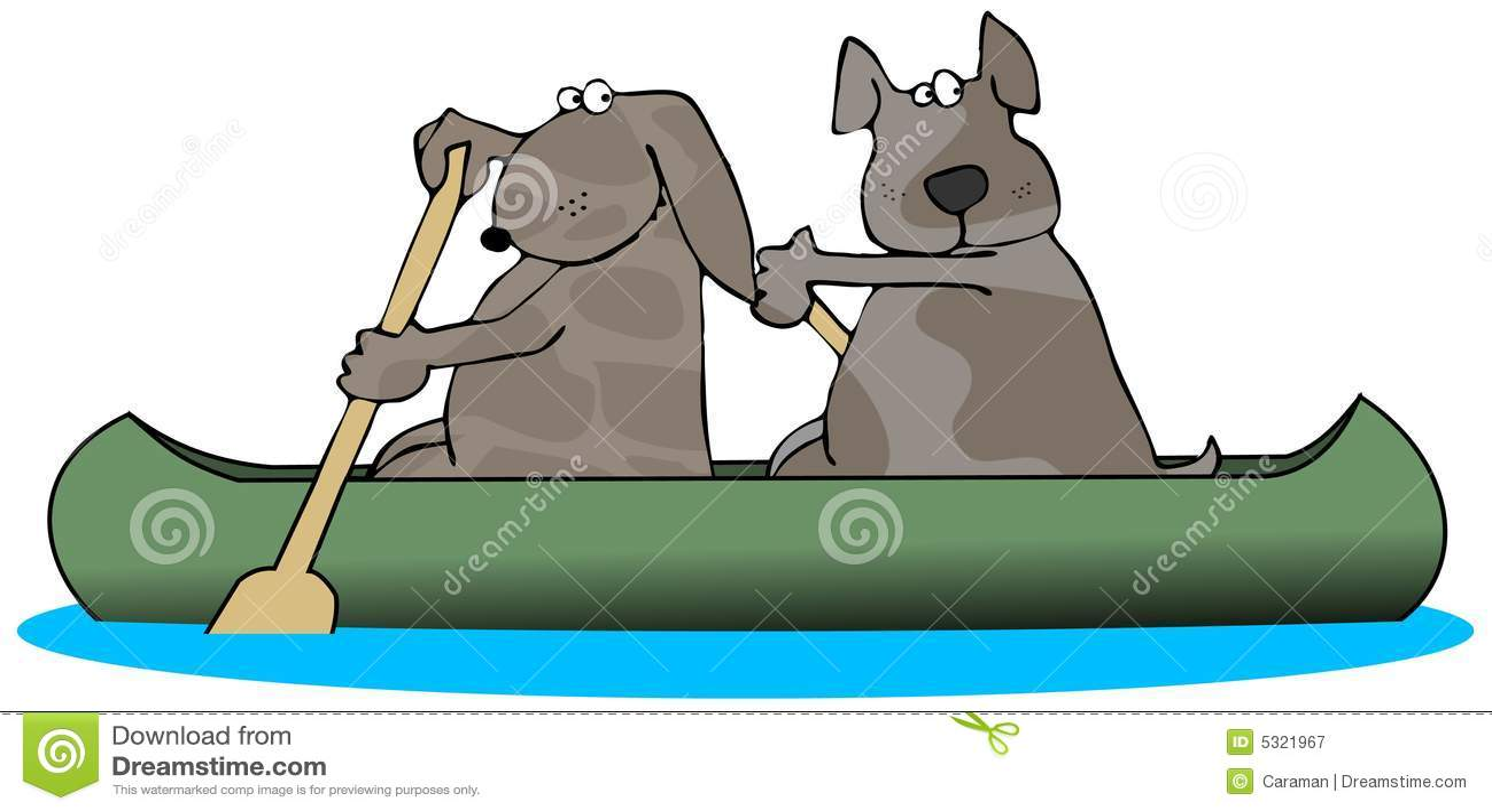 Download Due cani in una canoa illustrazione di stock. Illustrazione di canoe - 5321967
