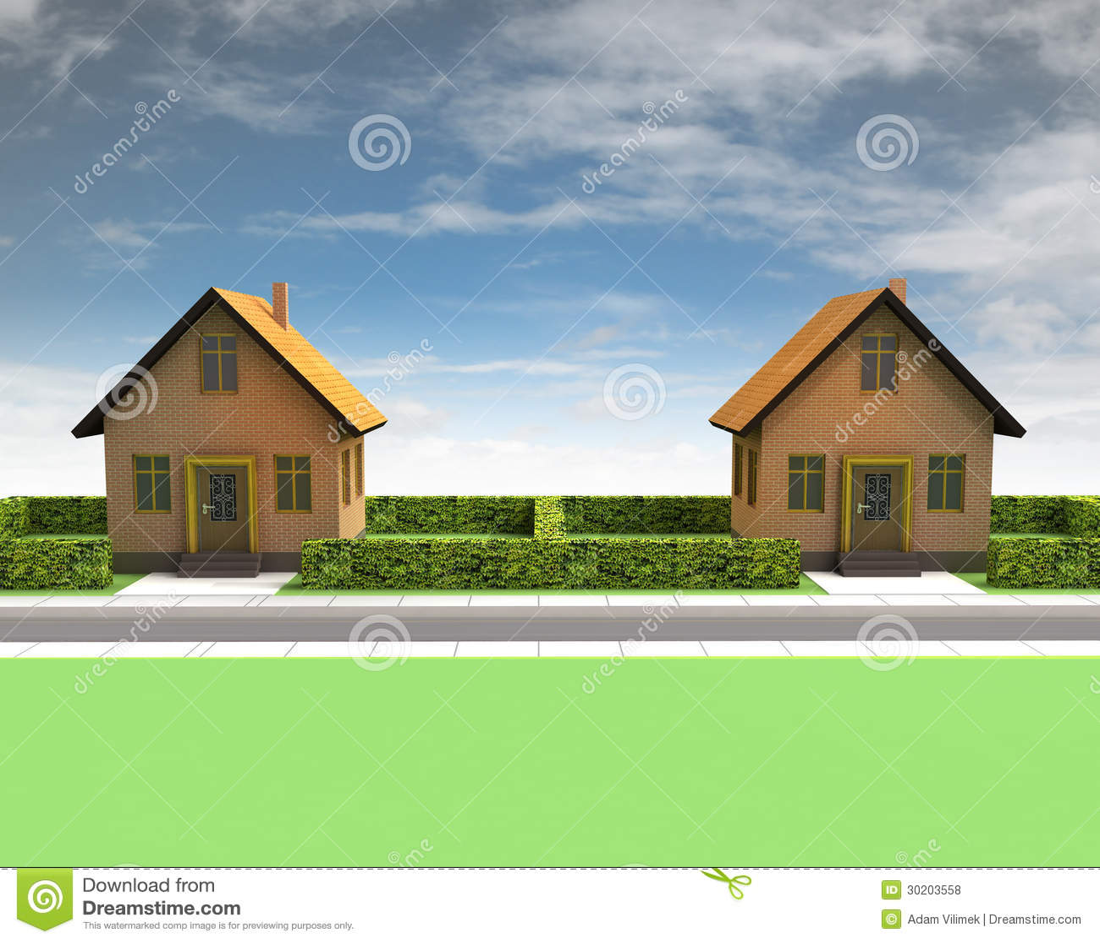 Due case in vicinanza con cielo blu illustrazione di stock for Due case di mattoni storia