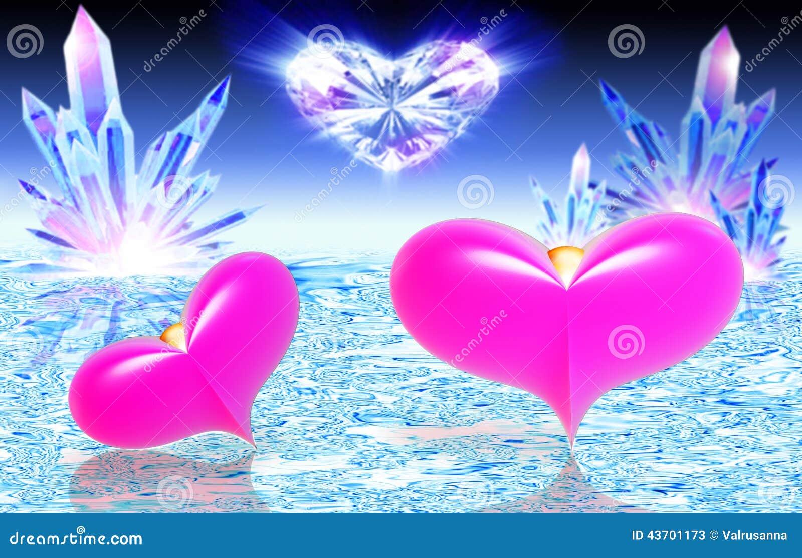 Due cuori rosa su acqua