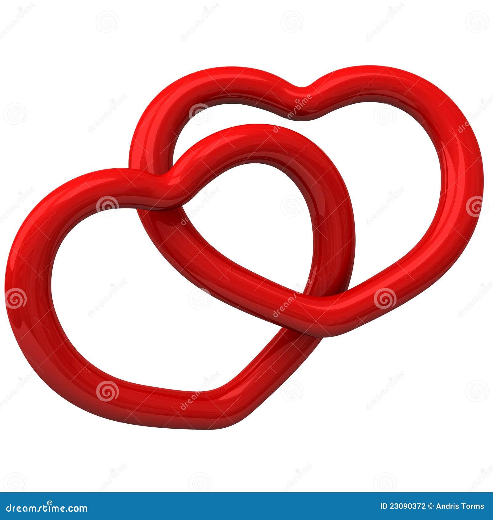 Due cuori rossi insieme 3d illustrazione di stock for Immagini di cuori rossi