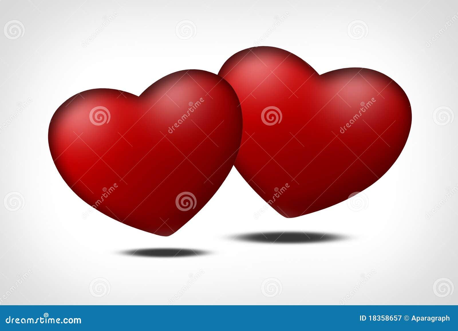 Due cuori rossi simbolo di amore fotografia stock libera for Immagini di cuori rossi