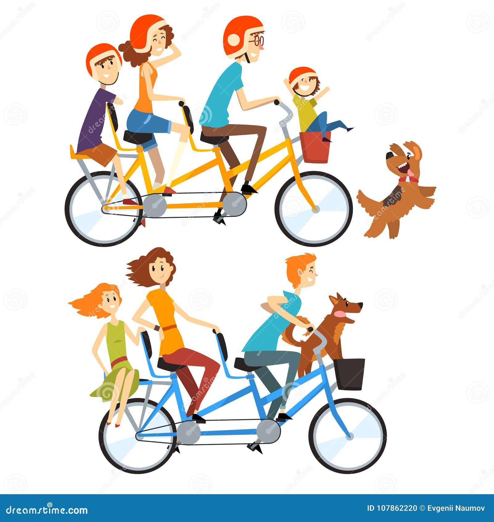 Due famiglie felici che guidano sulle biciclette in tandem con tre sedili e canestri Concetto di Parenting Ricreazione con i bamb