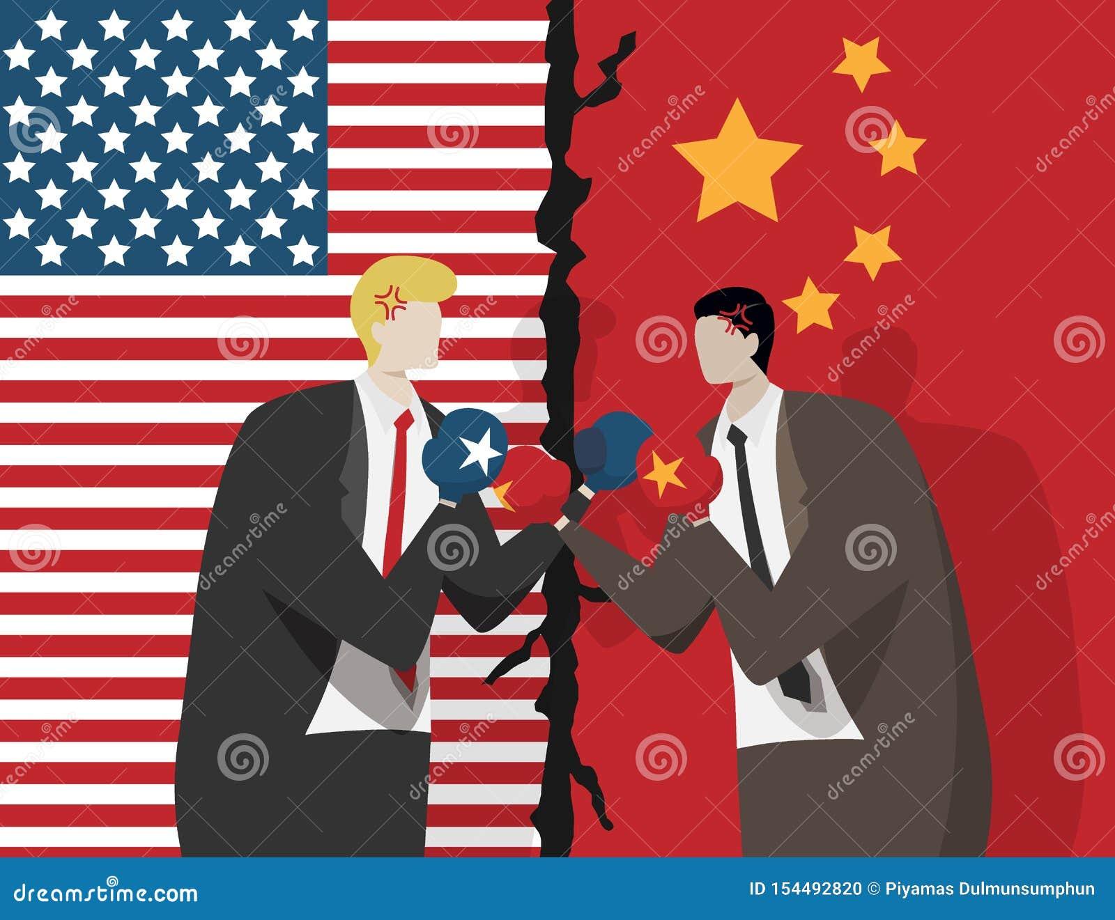Due genti di affari che portano i guantoni da pugile per la lotta, la bandiera di U.S.A. e la Cina al fondo Guerra commerciale fr
