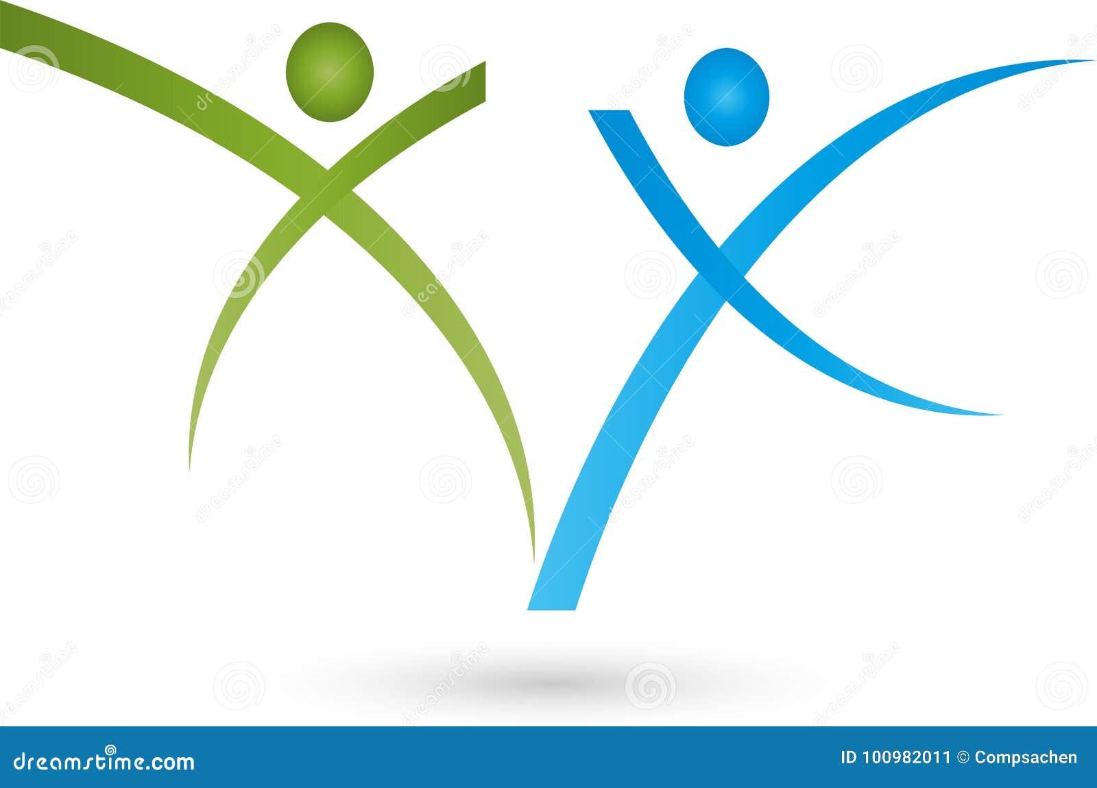 Due genti nel logo di moto, di sport e di forma fisica