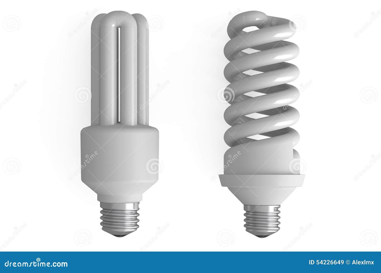 Due lampade fluorescenti compatte illustrazione di stock